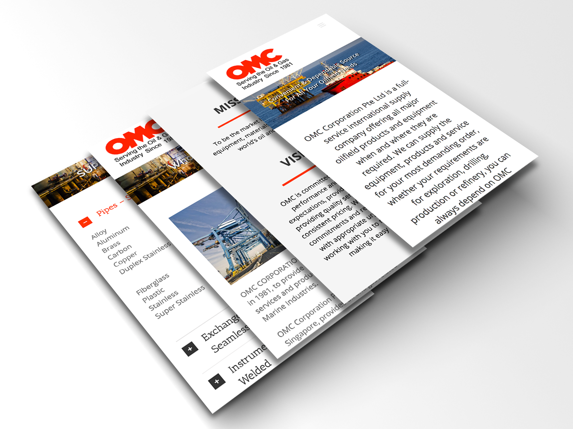 omc corp mobile ui web design