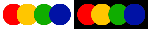 Square Colour colours on white and black background in web design