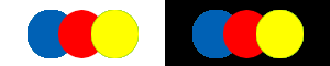 Triad colours on white and black background in web design