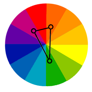 split-complementary colour wheel in web design