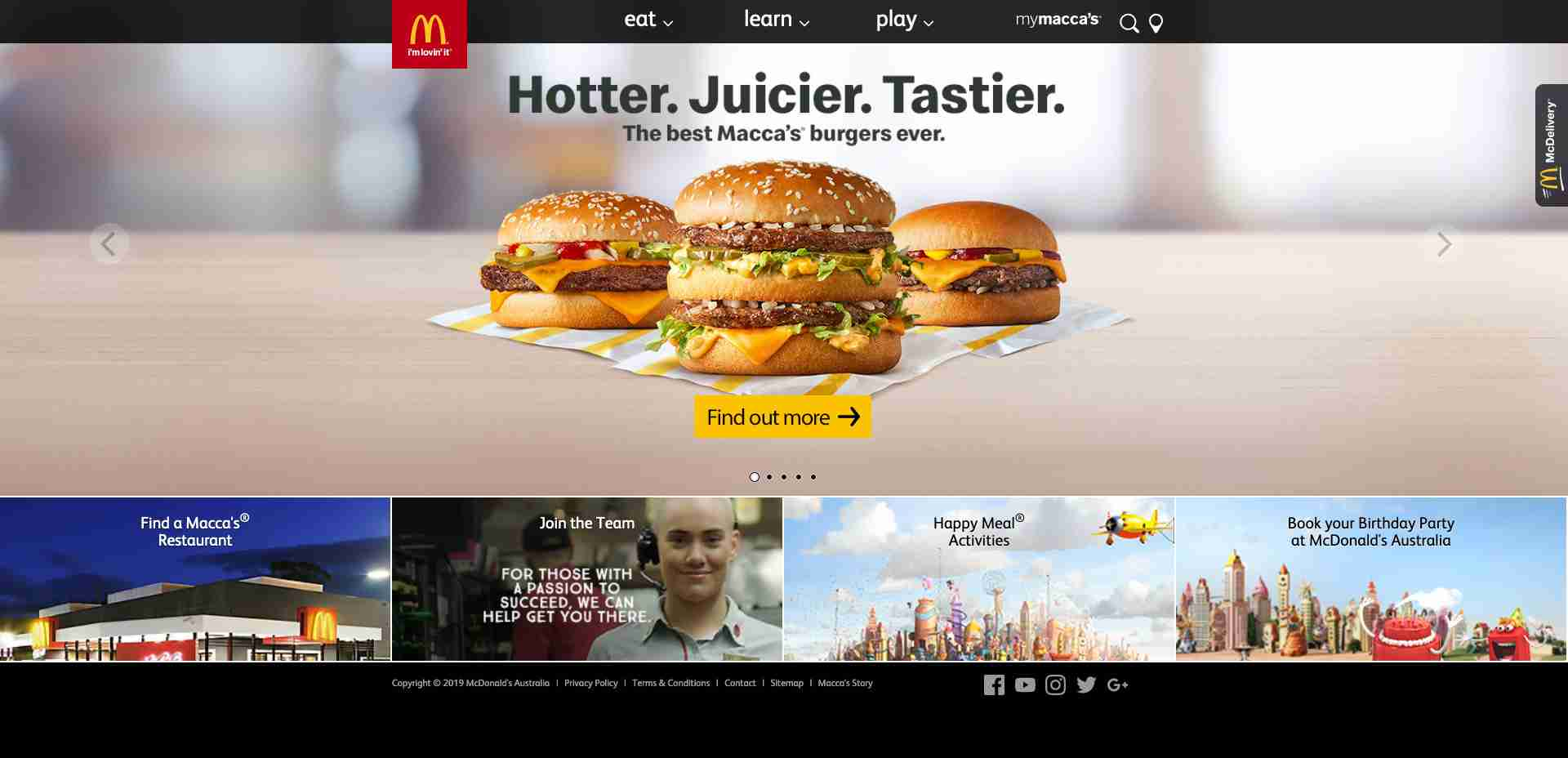 Multiple Site #3: AUS McDonald Homepage web design