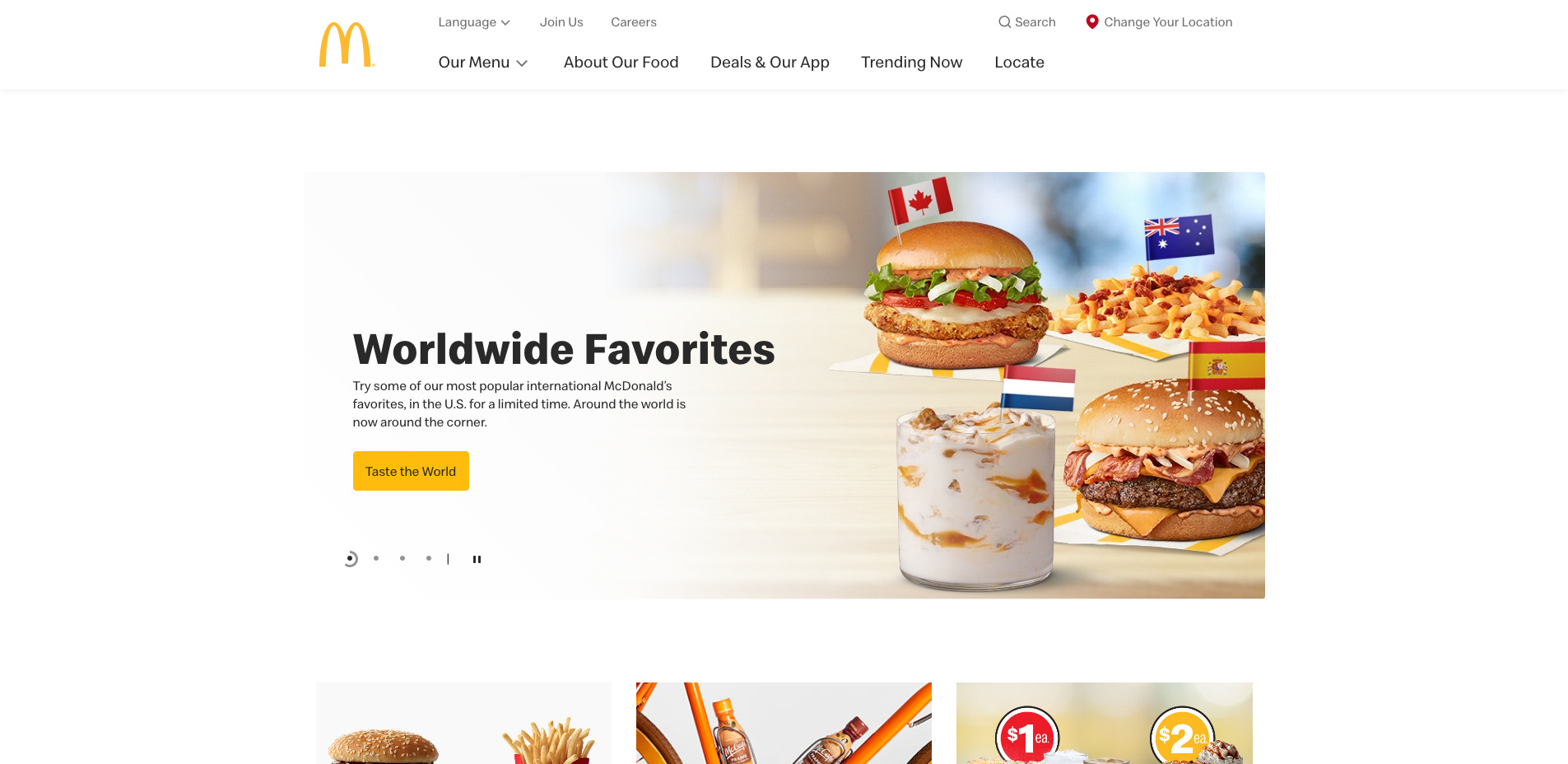 Multiple Site #2: US McDonald Homepage web design